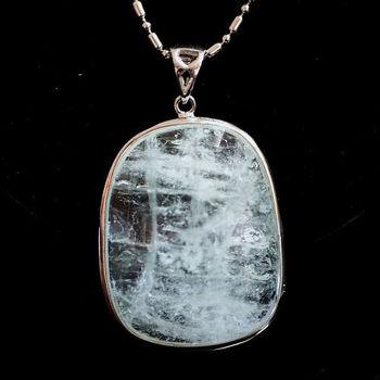 【喨喨飾品】海藍寶石純銀鑲框墜 (M204)