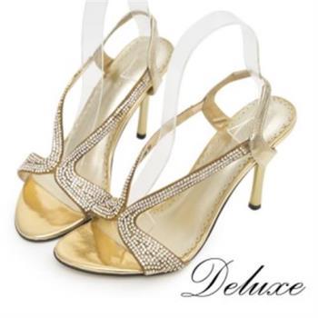 【Deluxe】夏日奢華派對水鑽羊皮高跟涼鞋(金)