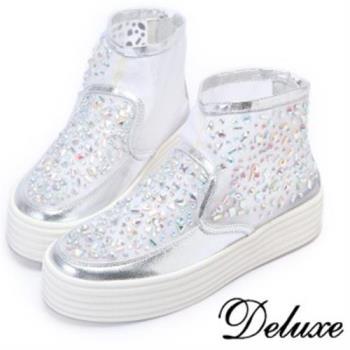 【Deluxe】蕾絲網紗不規則晶瑩水晶鑽厚底休閒鞋(白)