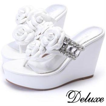 【Deluxe】全真皮高雅山茶花純淨夾腳楔型拖鞋(白)