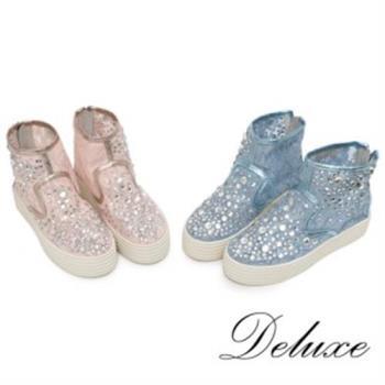 【Deluxe】超透氣蕾絲網紗高筒厚底休閒鞋(藍★粉)