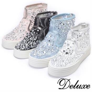 【Deluxe】超透氣蕾絲網紗高筒厚底休閒鞋(黑★白★藍★粉)
