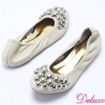 【☆Deluxe☆】全真皮柔軟彎曲閃亮鉚釘娃娃鞋(米)