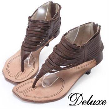 【Deluxe】羅馬風自然垂墜線條夾腳涼鞋(咖啡色)