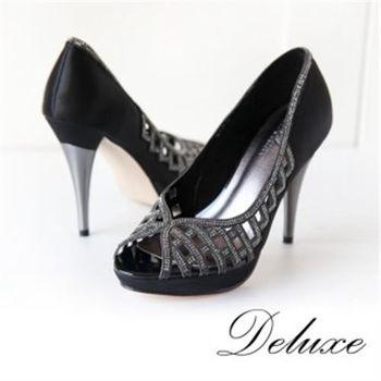 【Deluxe】簍空微露線條水鑽魚口高跟鞋(黑)