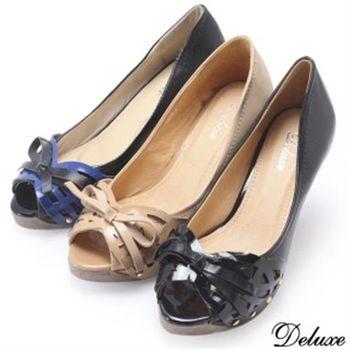 【Deluxe】漆皮編織蝴蝶結氣質高跟鞋(米★藍★黑)