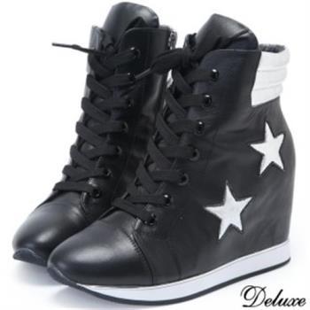 【Deluxe】全真皮流行雙星綁帶造型厚底增高鞋(黑)