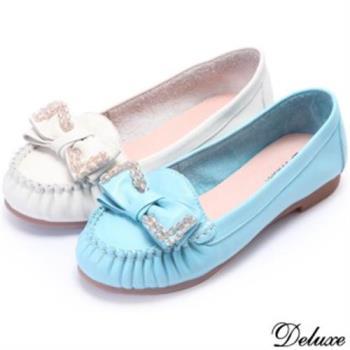 【Deluxe】全真皮捷克水晶蝴蝶皺褶平底包鞋(藍★白)
