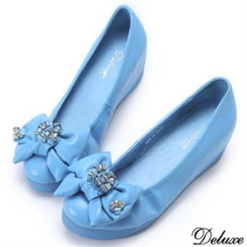 【Deluxe】真皮閃耀水晶鑽紐結楔型包鞋(藍)