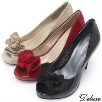 【Deluxe】全真皮花朵玩色優雅氣質高跟鞋(黑★米★紅)