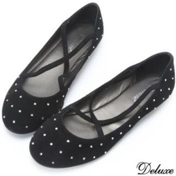 【Deluxe】全真麂皮水鑽交叉綁帶平底休閒鞋(黑)