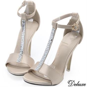 【Deluxe】真皮絲緞T字綁帶水鑽高跟鞋(米)