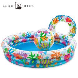 【INTEX】132公分圓形戲水泳池組