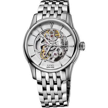 ORIS Artelier Skeleton 藝術家雙鏤空機械腕錶-銀/40mm 0173476704051-0782177