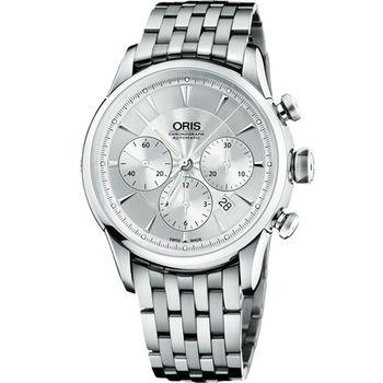 Oris Artelier 復刻三眼計時機械腕錶-銀/44mm O676.7603.40.51MB