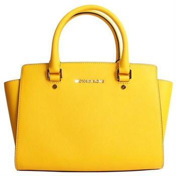 【MICHAEL KORS】MK SELMA系列防刮皮革兩用手提/斜背兩用包(檸檬黃/中款)