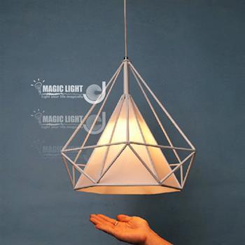 【光的魔法師 Magic Light】美式藝術客廳吊燈創意餐吊燈臥室書房燈燈具燈飾鑽石 設計師的燈(白色)