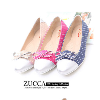 【ZUCCA】Z5734金屬霧面朵結平底娃娃鞋-粉色/藍色/白色