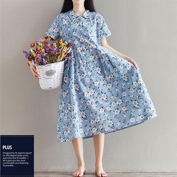 【SCL南加州丹寧時尚】T1637 水藍花色棉麻涼爽寬鬆連身短袖長洋裝 (M-2L)