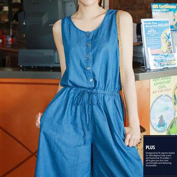 【SCL南加州丹寧時尚】T1634 中藍寬管無袖洋裝鬆緊腰連身牛仔褲裙