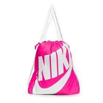 【NIKE】束口背包-後背包 雙肩包 鞋袋 粉白