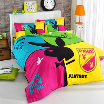 【PLAYBOY】紐約色彩 雙人四件式兩用被床包組