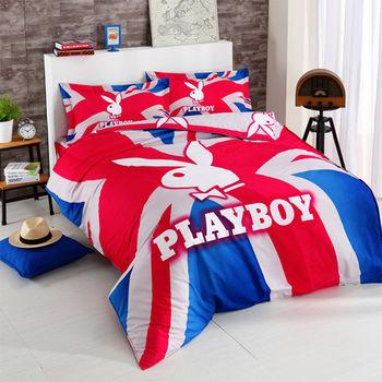 【PLAYBOY】英倫色彩 加大四件式兩用被床包組