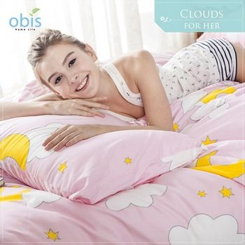 【obis】100%純棉雙人特大6*7尺床包兩用被組-粉紅雲朵