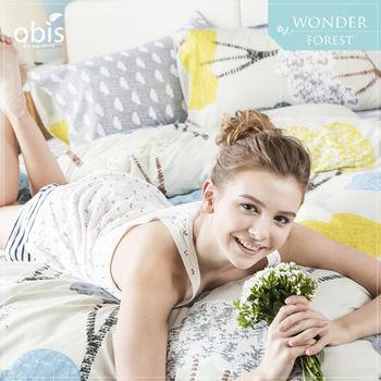 【obis】100%純棉雙雙人加大6*6.2尺床包兩用被組-奇幻森林