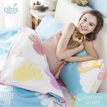 【obis】100%純棉雙雙人加大6*6.2尺床包兩用被組-飄飄雲朵