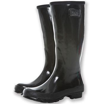 【HAS】時尚亮面長筒雨靴(平底-黑)