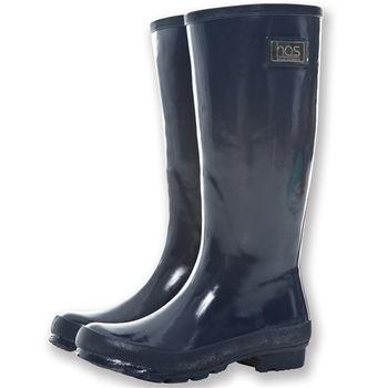【HAS】時尚亮面長筒雨靴(平底-藍)