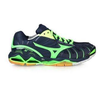 【MIZUNO】WAVE TORNADO X男排球鞋-羽毛球鞋 美津濃 深藍螢光綠