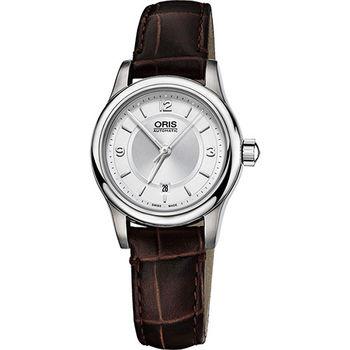 Oris Classic 古典系列品味時尚機械女錶-銀x咖啡/28.5mm 0156176504031-0751410