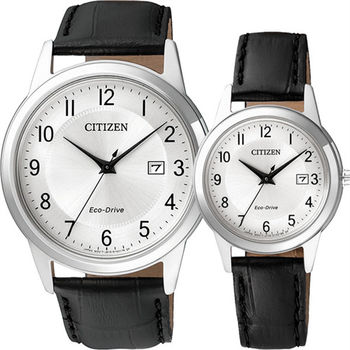 CITIZEN Eco-Drive光動能石英對錶-銀/40+30mm AW1231-07A+FE1081-08A