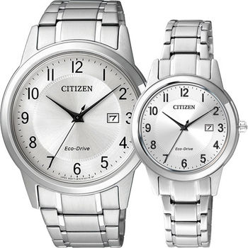 CITIZEN Eco-Drive光動能石英對錶-銀/40+30mm AW1231-58B+FE1081-59B