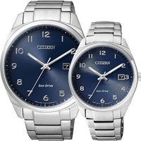 CITIZEN Eco ^#45 Drive 光動能 簡約對錶 ^#45 藍x銀 ^#47