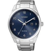 CITIZEN Eco ^#45 Drive 光動能 簡約腕錶 ^#45 藍x銀 ^#47
