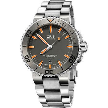 Oris Aquis 中型潛水機械腕錶-灰x橘時標/43mm 0173376534158-0782601PEB