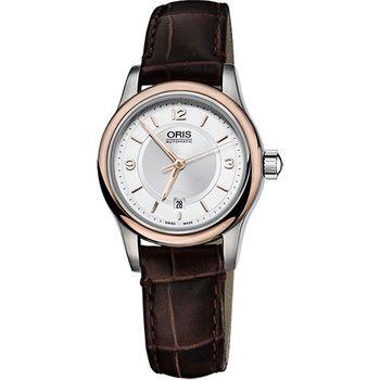 Oris Classic 古典系列品味時尚機械女錶-玫瑰金圈/28.5mm 0156176504331-0751410