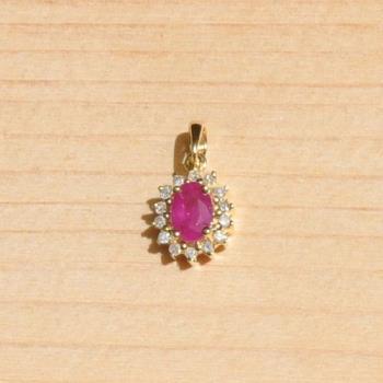 【品澐珠寶】現貨 18K黃金紅寶石真鑽經典項鍊