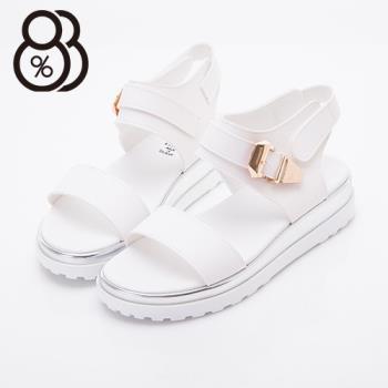 【88%】台灣製皮革金屬扣環4CM厚底涼鞋 2色
