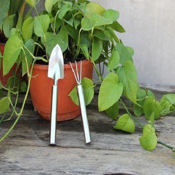 [協貿國際]迷你不鏽鋼兩件套鏟 耙 多肉植物小盆栽花卉栽種松土種花工具套裝