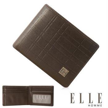 【ELLE HOMME】法式精品義大利頭層皮、鈔票多層/證件層兩面/名片多層短夾(咖啡 EL81989-45)