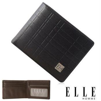 【ELLE HOMME】法式精品義大利頭層皮、鈔票多層/證件層兩面/名片多層短夾(黑 EL81989-02)