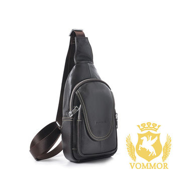 【VOMMOR】韓國經典進口全真牛皮隨身斜背包