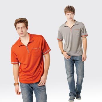 【SAMLIX山力士】男款M-XXL 台灣製 吸濕排汗 涼感紗 短袖 POLO衫#SP106(橘色.灰色)
