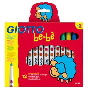 【義大利 GIOTTO BEBE 彩繪系列】可洗式寶寶彩色筆(12色) 460600