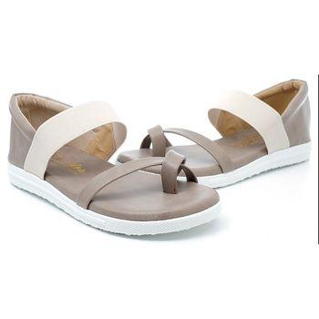【 cher美鞋】配色交叉舒適鞋(灰色/白色)512-01