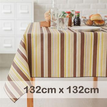 CasaBella美麗家居 防水桌巾 瑪奇朵條紋 132x132cm